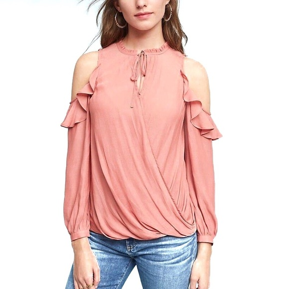Anthropologie Maeve Cold Shoulder Ruffle Top XS